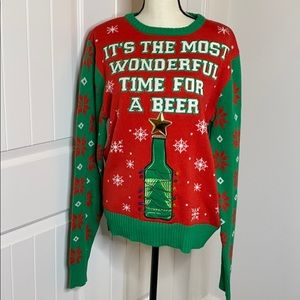 Christmas sweater lights up beer sweater